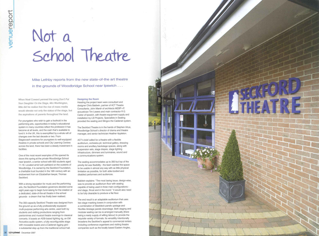Lighting and Sound Magazine – Woodbridge School, Seckford